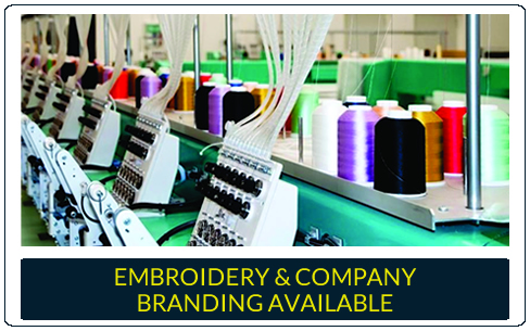 Embroidery and company branding available